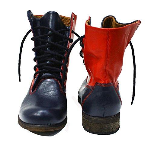 PeppeShoes Modello Imperia - Cuero Italiano Hecho A Mano Hombre Piel Rojo Botas Altas - Piel de Cabra Cuero Suave - Encaje