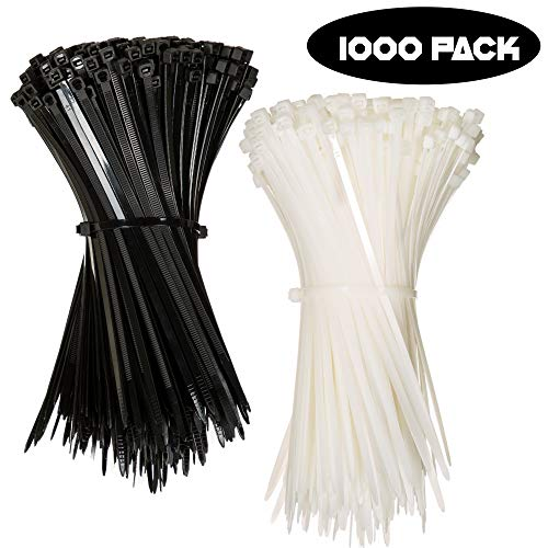 Nylon Zip Ties (BULK PACK OF 1000) 8 Inch Cable Ties in Black and White - 50lb Strength Tie Wraps - Perfect for Tying Cables, Wires, Organization, and So Much More! (Ties Zip 1000 Pack)