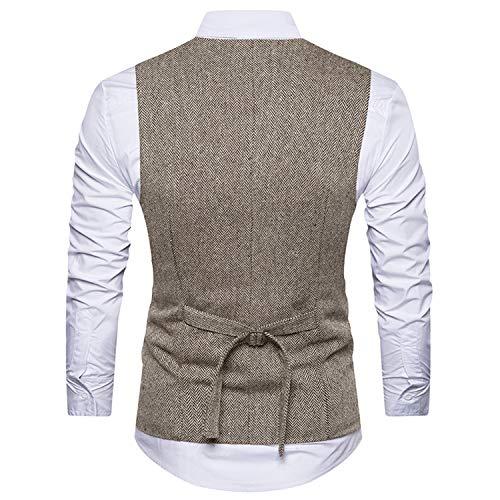 Senza Gilet Maniche Uomo Waistcoats breasted Double Wedding Tweed Beige Ycueust nPk08wO