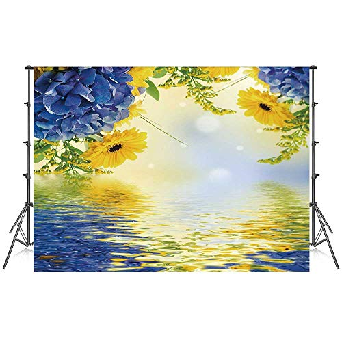 Yellow and Blue Stylish Backdrop,Romantic Bouquet of Hydrangeas and Asters on Water Background for Photography Festival Decoration,59''W x 39''H