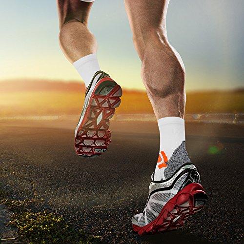 Compression Running Socks, LANDUNCIAGA Cushion Cycling Hiking Basketball Travel Crew Socks