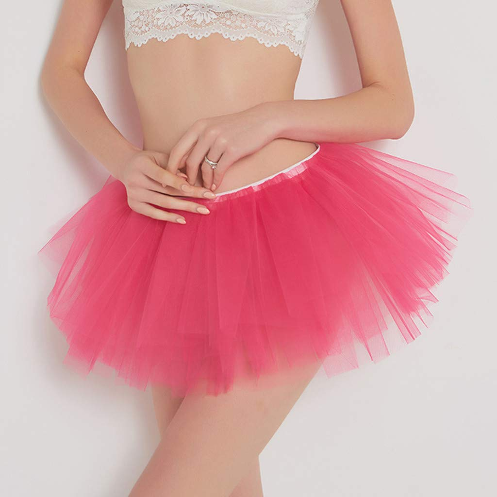 Pervobs Womens Cute Summer Solid Pleated Gauze Elastic Waist Short Skirt Loose Adult Tutu Dancing Skirt(Free, Hot Pink) by Pervobs Dress (Image #2)