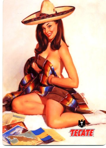 Tecate Cerveza - Sexy Pin Up Girl - Metal Beer Sign