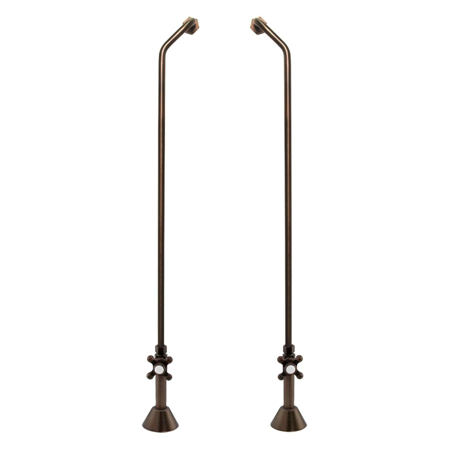 Double Offset Tub Supplies With Valves - Fits Copper Pipe - in Oil Rubbed Bronze Finish by SH
