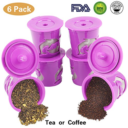 6 Reusable Refillable k-Cups Coffee Filter Accessories for Keurig 2.0 and Classic 1.0 & Other Single Cup Brewers, Fits K55, K200, K250, K300, K350, K400, K450, K460, K500, K550, K560