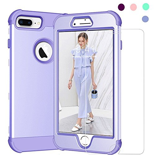 iPhone 6S Plus/7 Plus/8 Plus Case, KAMII [Full Body Protection] Heavy Duty Hybrid Sturdy Armor Defender Shockproof Case for iPhone 6 Plus/6S Plus/7 Plus/8 Plus (with Screen Protector) (Lavender)