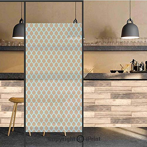 - 3D Decorative Privacy Window Films,Squama Pattern with Intertwined Half Circles Aquatic Animal and Snake Scale Design,No-Glue Self Static Cling Glass film for Home Bedroom Bathroom Kitchen Office 24x3