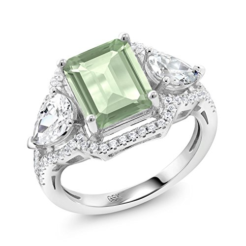 Green Prasiolite 925 Sterling Silver Women's Ring (3.69 Ctw Emerald Cut Available in size 5, 6, 7, 8, (Ctw Emerald Ladies Ring)
