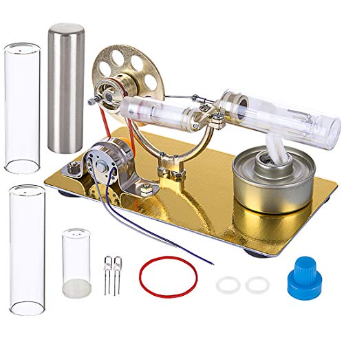 Yamix Stirling Engine Kit, DIY Single Cylinder Stirling Engine Model Science Experiment Kit Education Stem Toy with All-Metal Base