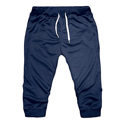 ALOVEMO 2019 Summer New Classic Men Gym Workout Jogging Shorts Pants Fit Elastic Casual Sportswear Navy
