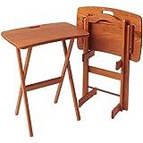 Manchester Wood Portable Folding Tray Table Desk Set Of 2   Golden Oak