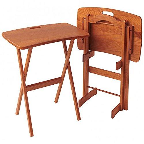 able Folding Tray Table Desk Set of 2 - Golden Oak (Golden Oak Tv)