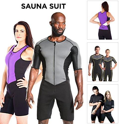 Kutting Weight Neoprene Weight Loss Men's & Women's Sauna Suit (Grey w/ Black, 2XL) (Workout Card Weight Loss)