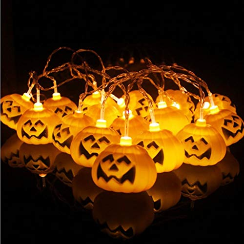 Lywey Christmas Halloween Party Funny Pumpkin Twenty Light up Ghost Festival Pumpkins LED Battery Lantern String House Garden Decoration 3M -