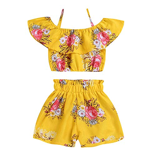 Toddler Baby Girls Floral Spaghetti Strap Ruffled Tops+Shorts Outfits Clothes 2pcs Set (Yellow Floral, 4-5 Years Old) -