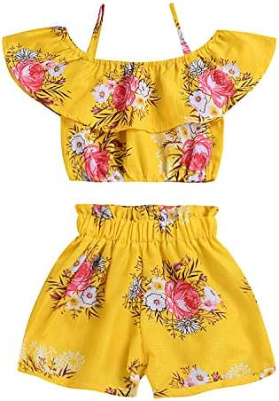 Toddler Kids Baby Girl Floral Halter Ruffled Tops+Shorts 2PCS Outfits Clothes Set