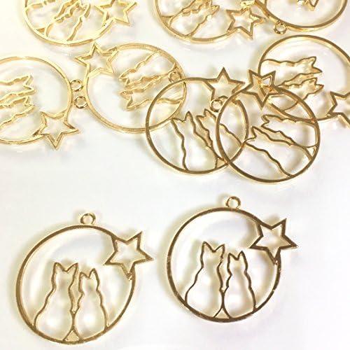 猫とお星さまのレジンフレーム ゴールド 2個 カン付きセッティング チャーム アクセサリーパーツ ハンドメイド 手芸材料