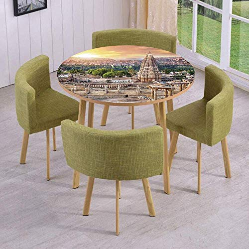VAMIX Round Table/Wall/Floor Decal Strikers/Removable/Viruphaksha Temple View Up from The Hills Sunset Above City Buildings Rock Tower/for Living Room/Kitchens/Office -