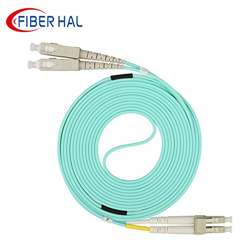 FiberHal OM3 LC to SC Multimode Duplex Fiber Optic Patch Cable 50/125um 10Meter, UPC LSZH Aqua -