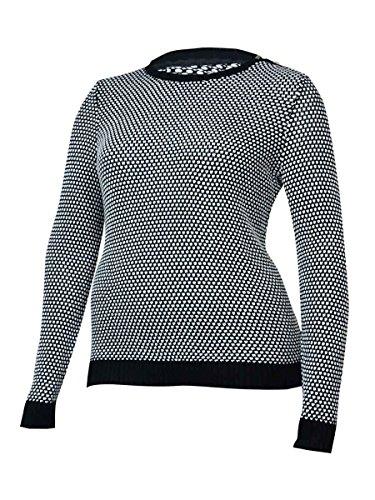 Jewel Neck Sweater - Charter Club Womens Plus Colorblock Jewel Neck Pullover Sweater B/W 2X