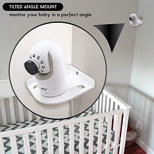 Baby Monitor Mount (White) - Corner Camera Shelf for Infant Optics DXR-8 DXR-5 Arlo Baby Babysense 7 Hello Baby Motorola - Universal Wall Mounts Crib Cam Holder for Infants Video Monitoring by Sully by Sully (Image #2)