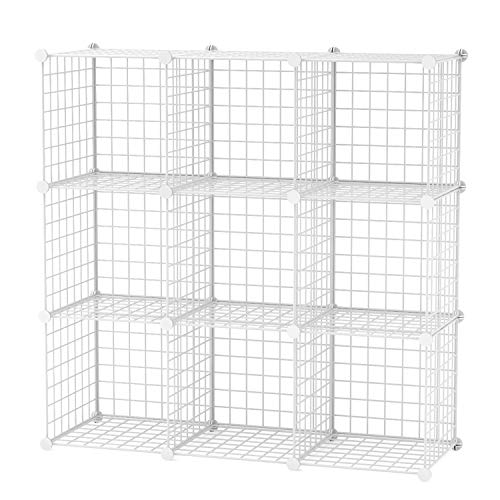 C&AHOME Metal Wire Cube Storage, 9-Cube Modular Bookcase, Stackable Storage, Wire Mesh Bookcase Shelves or Shoe Rack,DIY for Closet, Living Room, Kid's Room, Office, 36.6