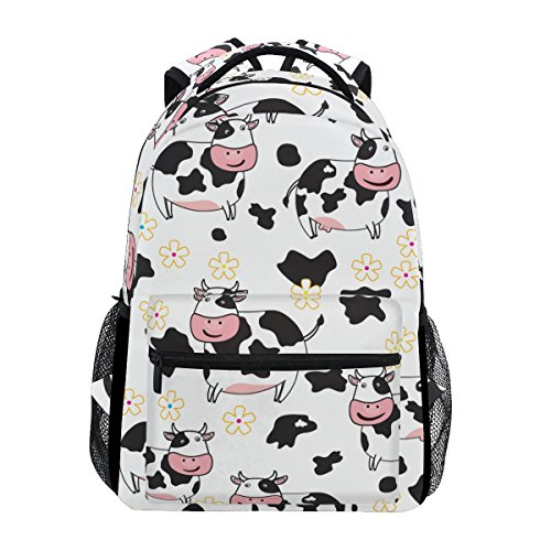 Cute Cow Pattern Print Casual Laptop Backpack College School Bag Travel Daypack