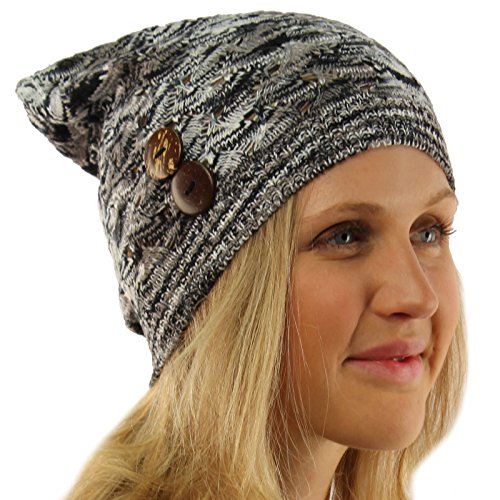 Ladies Marled Button Vented Soft Knit Long Beanie Slouchy Skull Hat Cap Black ()