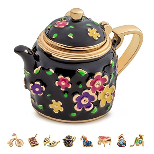 Gold Plated Silver Plated Charm Bracelet - CHARMULET 14k Plated Gold - Black Color - Interactive Teapot Charm - Compatible with Charm Bracelet by Charmulet - Gift Box Included