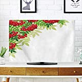 iPrint LCD TV dust Cover Customizable,Rowan,Vibrant Bunch of Ripe Berries with Fresh Green Leafage Corner Design,Red Lime Green Apple Green,Graph Customization Design Compatible 65'' TV