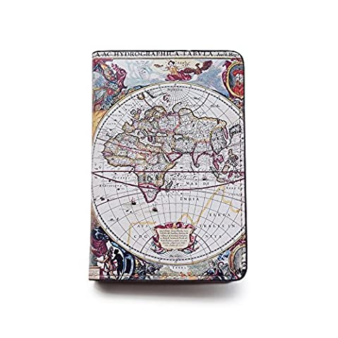 Novelty Leather Passport Cover - Vintage Passport Wallet - Travel Accessory Gift - Vintage World Map Cover - Travel Wallet for Women and - Vintage Leather Accessories