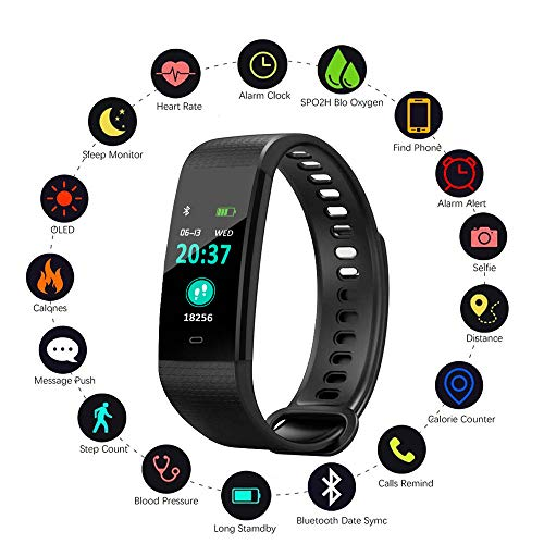Amazon.com: Blood Pressure Monitor Watch,Waterproof Color Screen Fitness Tracker with Heart Rate Blood Oxygen Monitor,Smart Wristband with Calorie Counter ...