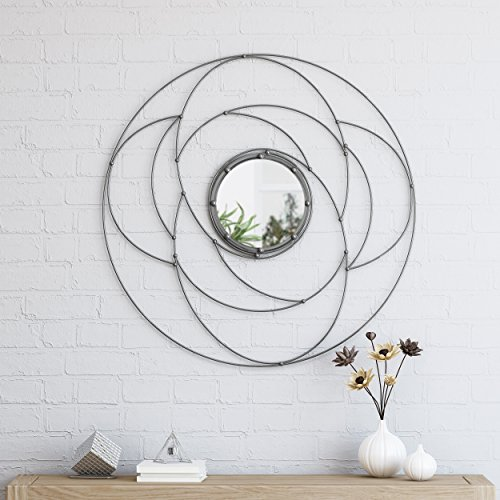 Great Deal Furniture 305348 Aileen Modern Circular Wall Mirror, Silver,