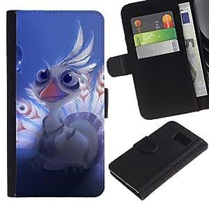 LASTONE PHONE CASE / Lujo Billetera de Cuero Caso del tirón Titular de la tarjeta Flip Carcasa Funda para Samsung Galaxy S6 SM-G920 / Lord shen peacock Cute