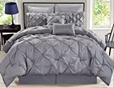 KingLinen 8 Piece Rochelle Pinched Pleat Gray Comforter Set Queen
