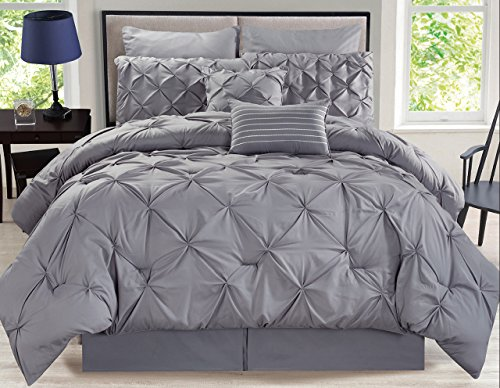 12 Piece Rochelle Pinched Pleat Gray Bed in a Bag w/500TC Cotton Sheet Set King