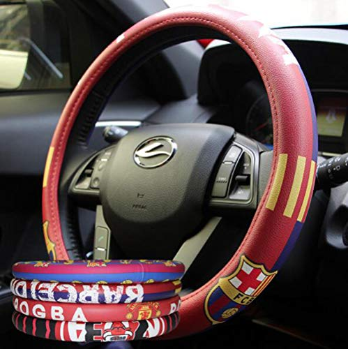 Barcelona Car - Carmen Football Team Auto Car Steering Wheel Cover Barcelona Manchester United NBA Bull Fans Sport Style Universal 15 Inch Wheel Cushion Protector 38cm (Barcelona02)