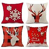 Cotton Linen Christmas Pillow Covers 18x18 Inch Set of 4 - 1x Plaid Reindeer + 1x Santa Claus + 1x Snowflake + 1x Deers Decorative Square Pillowcases