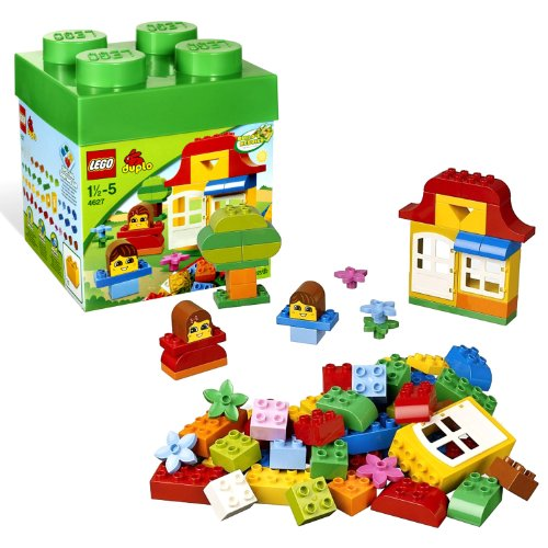 Lego Year 2012 Duplo Bucket Series Set #4627 - DUPLO FUN WITH BRICKS with Decorated Faces, Rounded Duplo Bricks, a Door, Window, Flowers and Lots of Basic DUPLO Bricks Plus Lid Serves as Handy Sorting Tray and Idea Booklet (Total Pieces: 85) by Duplo (Lego Duplo Tray compare prices)