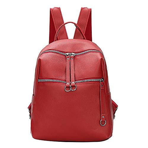 Women Fashion Simple Pure Color Backpack Tide Bag Wild Soft Leather Bag Elegant Design College Student Bag