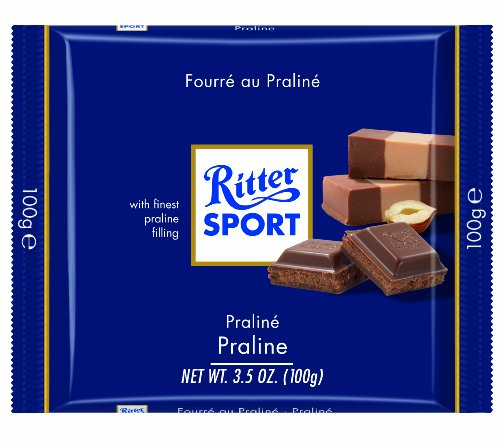 Milk Praline (Ritter Sport, Milk Chocolate with Nougat Praline Filling, 3.5-Ounce Bars (Pack of 13))