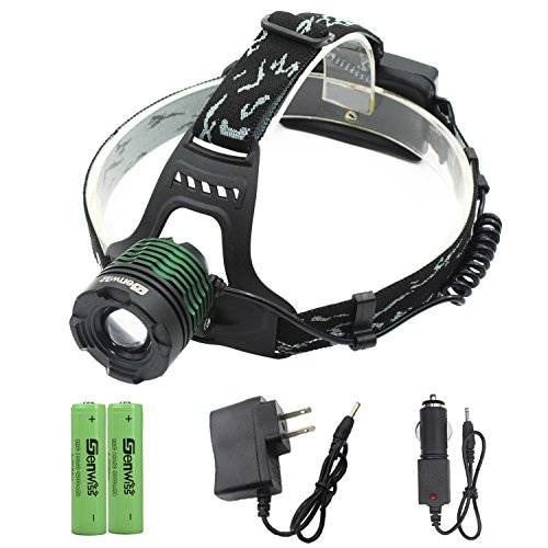 LED Headlamp Waterproof Head Lamp - Genwiss Torch Light CREE T6 Flashlight Zoomable Rechargeable Super Headlight with Rechargeable Batteries, Wall Charger for Camping - Top Brighteyes Hat