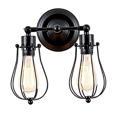 ATC Black Industrial Vintage Style Mini 180 Degree Adjustable Wall Lighting Double Head Metal Wire Cage Shape Wall Sconce Lamp
