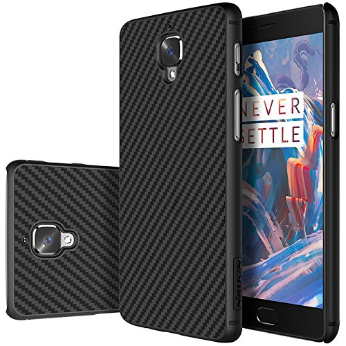 nillkin synthetic carbon fiber texture hard Rubber Back Cover Case for oneplus 3 / 3t   black