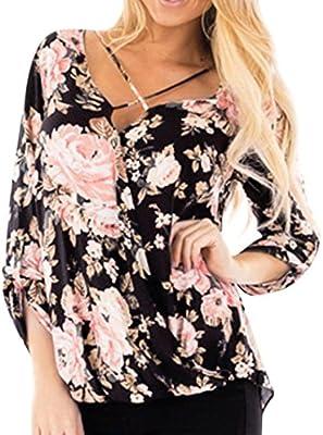 f997994e359868 Amazon.com  KFSO Women Casual Floral Printed Cross Bandage Long Sleeve  Irregular Hem Tops Blouse (Black