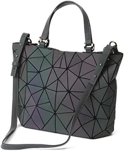 HotOne Geometric Luminous Purses and Handbags Shard Lattice Eco-Friendly Leather Rainbow Holographic Purse