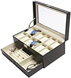 Amelitory 12 Slot Watch Box for Men Display Case Watch Organizer Jewelry Tray Faux Leather Black