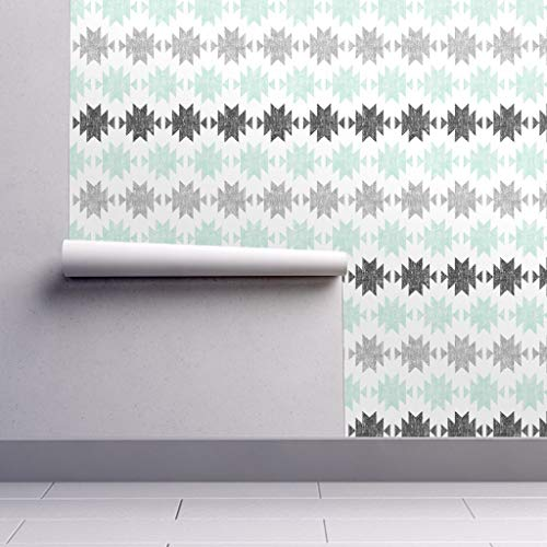 - Removable Water-Activated Wallpaper - Aztec Aztec Mint Gray Black Aztec Jumbo Modern Aztec Woven Tribal Southwest by Littlearrowdesign - 24in x 108in Smooth Textured Water-Activated Wallpaper Roll
