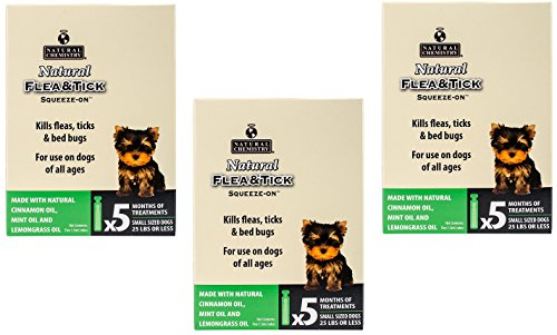 - Natural Chemistry 3 Pack of Natural Flea and Tick Squeeze-On, 5 1.5-Milliliter Tubes each, for Small Dogs Under 25 Pounds