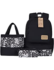 Ulgoo Canvas Casual School Backpacks Teen Girls Bookbags Shoulder Bags